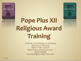 Pope Pius XII Conselor Training Presentation